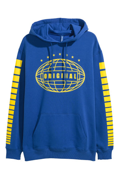 Printed hooded top - Blue/Original - Men | H&M