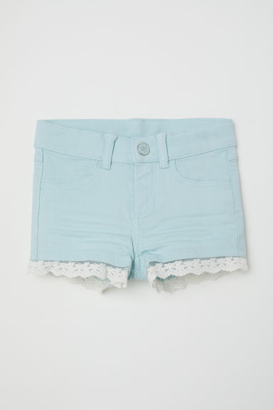 Lace-trimmed twill shorts - Light turquoise - Kids | H&M CN