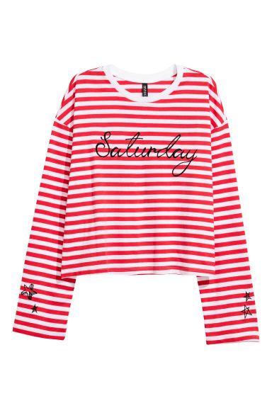 Jersey top with embroidery - Red/Striped -  | H&M CN