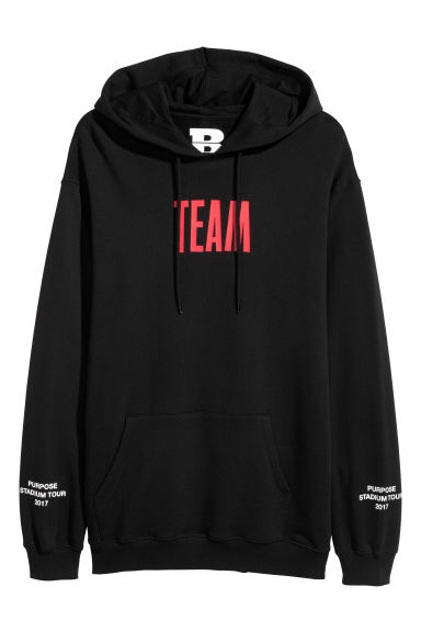 Printed hooded top - Black/Team -  | H&M