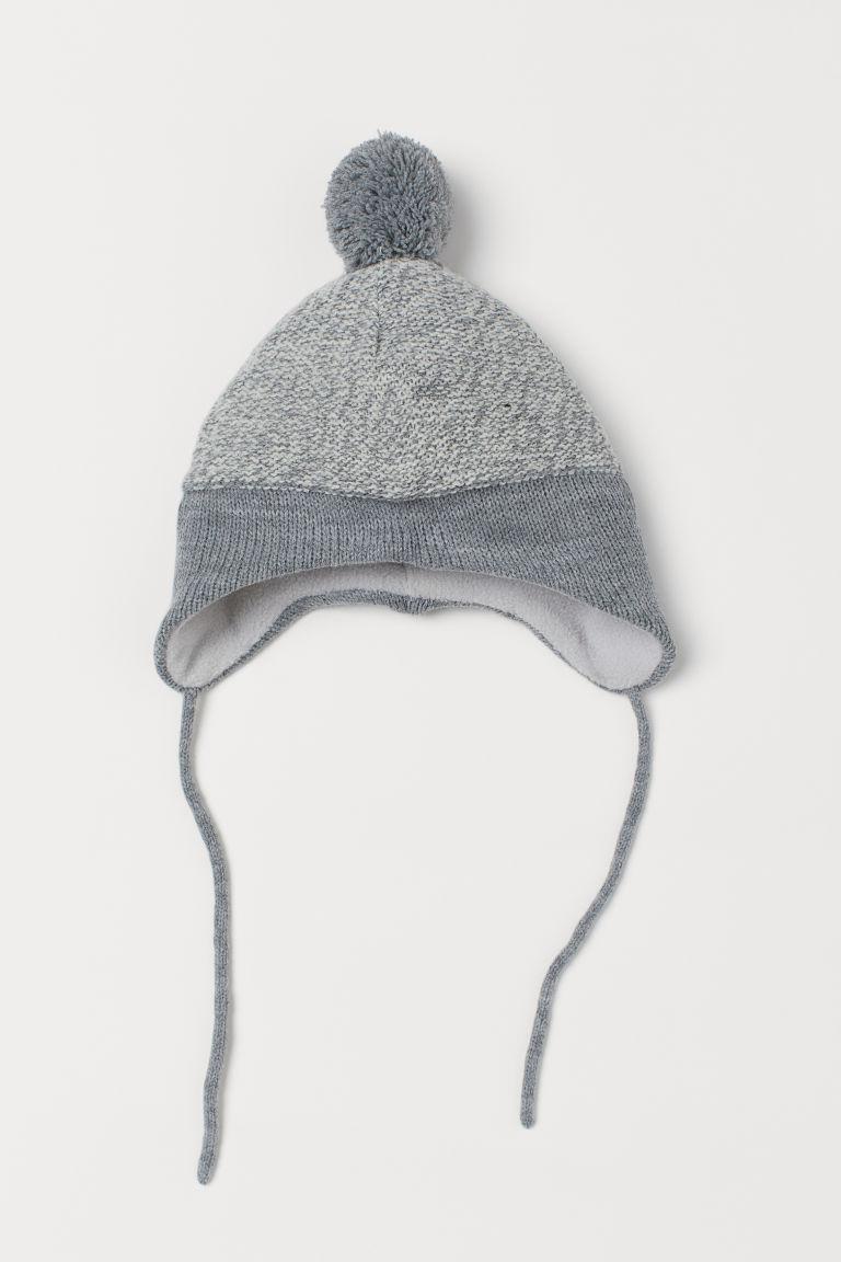 Fleece-lined hat - Light grey marl - Kids | H&M GB