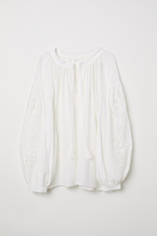 Hole-embroidered blouse