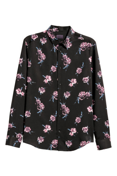 Lyocell shirt - Black/Floral -  | H&M GB