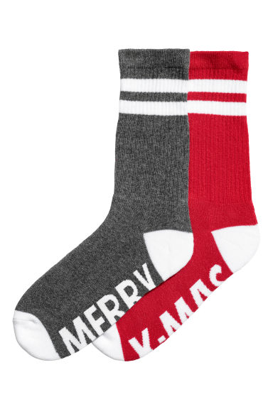 2-pack socks - Grey/Red -  | H&M GB