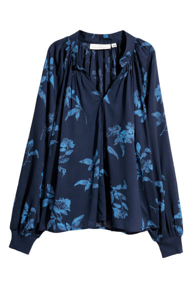 V-neck blouse - Dark blue/Floral - Ladies | H&M