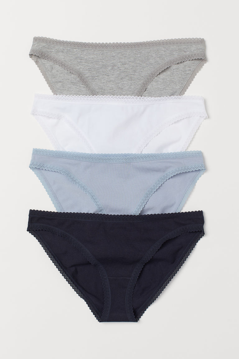 4-pack cotton bikini briefs - Dark blue/White - Ladies | H&M GB