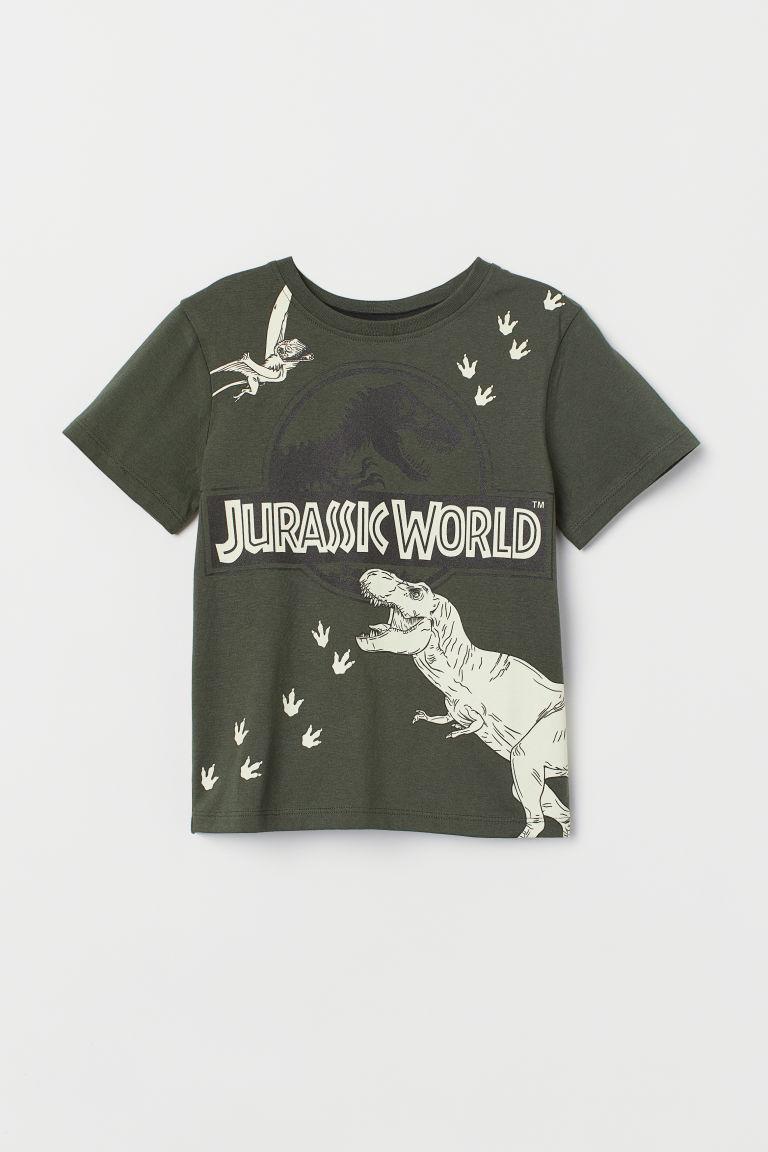 Printed T-shirt - Dark green/Glow-in-the-dark -  | H&M GB