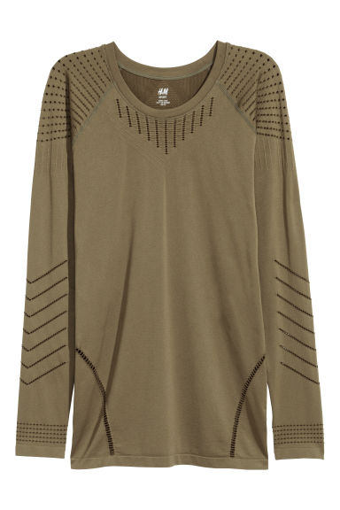 Seamless sports top - Khaki green - Ladies | H&M IE