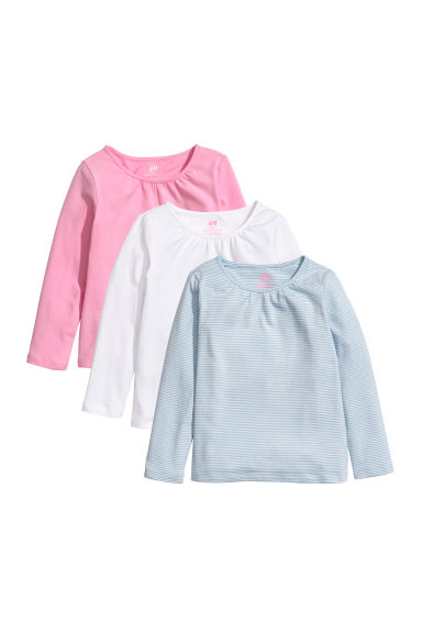 3-pack long-sleeved tops - White/Blue striped - Kids | H&M