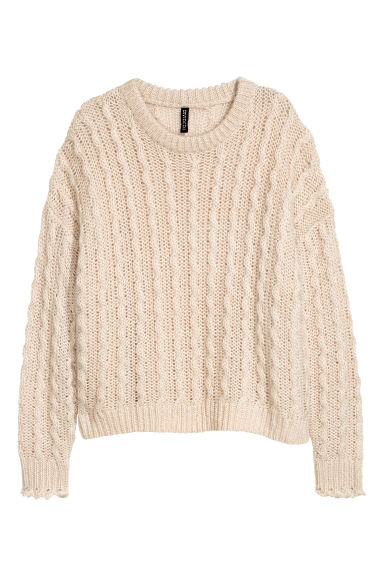 Textured-knit jumper - Light beige -  | H&M