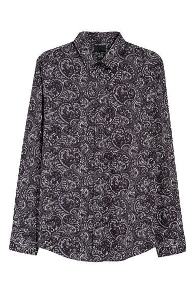 Patterned shirt Slim fit - Dark purple/Paisley -  | H&M