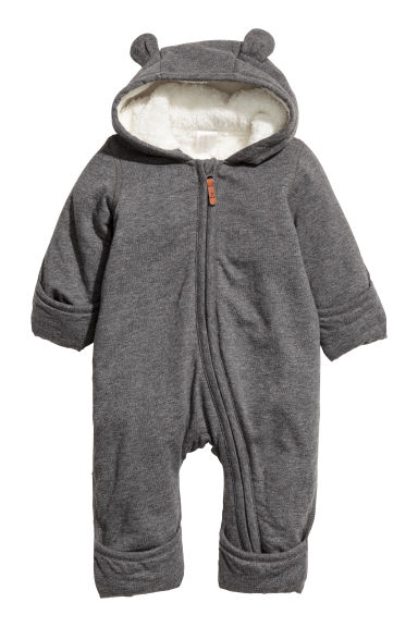 Cotton jersey all-in-one suit - Dark grey -  | H&M