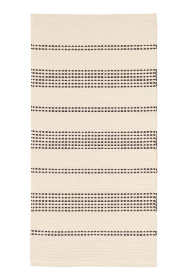 Textured striped cotton rug - Natural white/Anthracite grey - Home All | H&M CN