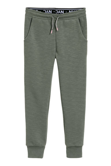Joggers with a foldover waist - Khaki green - Kids | H&M