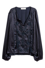 Embroidered blouse - Dark blue - Ladies | H&M 2