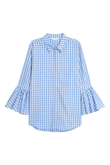 Blouse with flounced sleeves - Light blue/Checked - Ladies | H&M