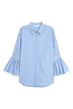 Blouse with flounced sleeves - Light blue/Checked - Ladies | H&M GB 2