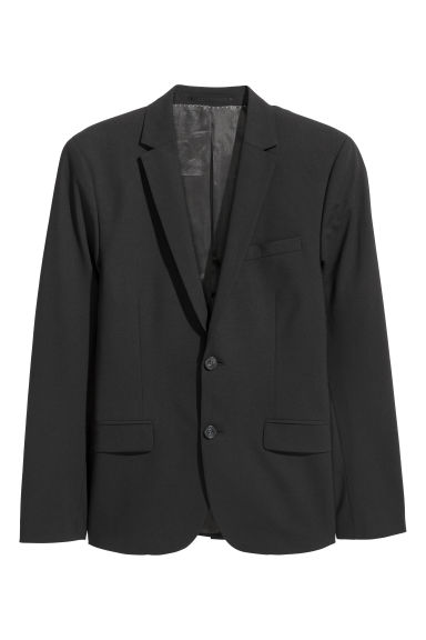 Wool jacket Skinny fit - Black -  | H&M CN