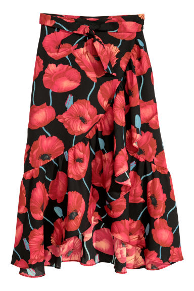 Wrapover skirt - Black/Patterned - Ladies | H&M