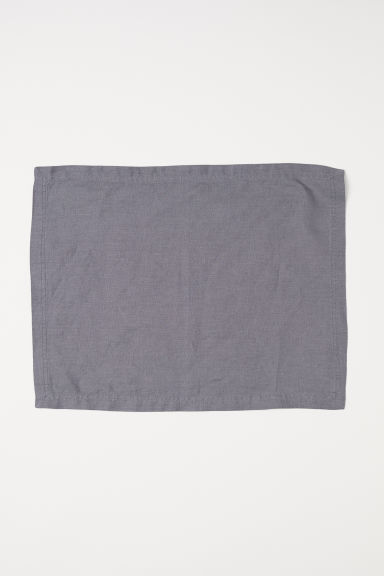 Washed linen table mat - Dark grey - Home All | H&M CN