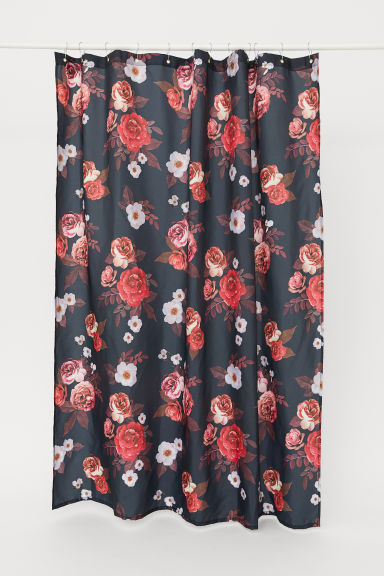 Patterned shower curtain - Black/Roses - Home All | H&M CN