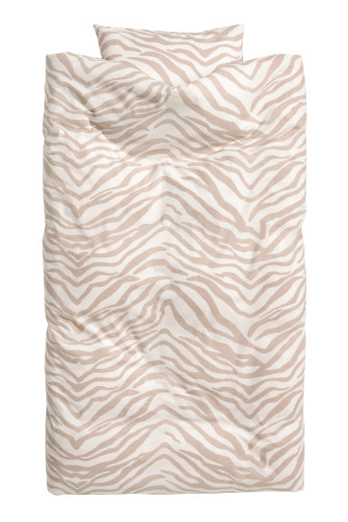 Zebra-print duvet cover set - Light mole/Zebra print - Home All | H&M CN