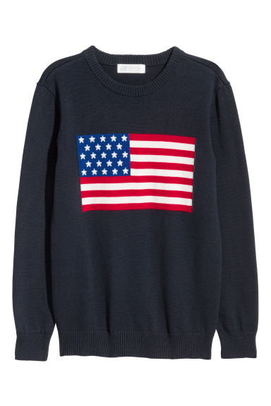 Jacquard-knit jumper - Dark blue/Flag -  | H&M CN