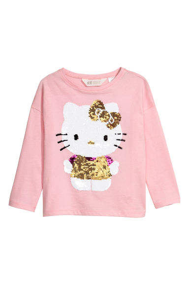 Reversible sequined top - Light pink/Hello Kitty - Kids | H&M CN