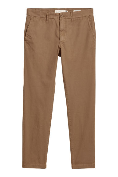 Katoenen chino - Slim fit - Lichtbruin - HEREN | H&M NL