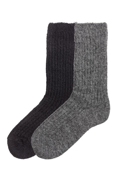2-pack socks in a mohair blend - Dark grey - Ladies | H&M CN