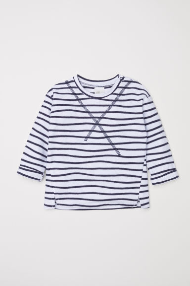 Jersey top - Natural white/Blue striped - Kids | H&M CN