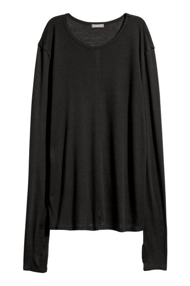 Long-sleeved lyocell top - Black -  | H&M