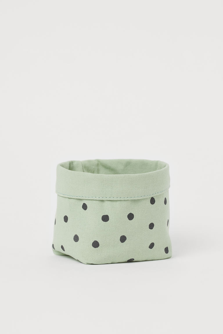 Small canvas storage basket - Dusky green/Spotted - Home All   H&M GB