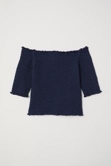 Smockad off shoulder-topp