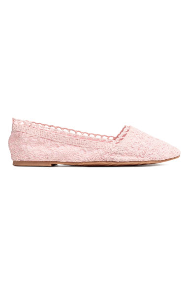 Crocheted ballet pumps - Light pink - Ladies | H&M