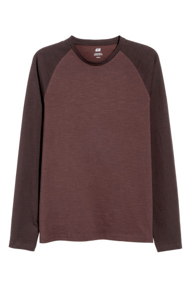 Slub jersey baseball top - Brown marl - Men | H&M