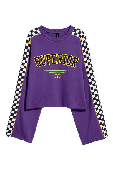 Short sweatshirt with a motif - Purple/Superior - Ladies | H&M 1