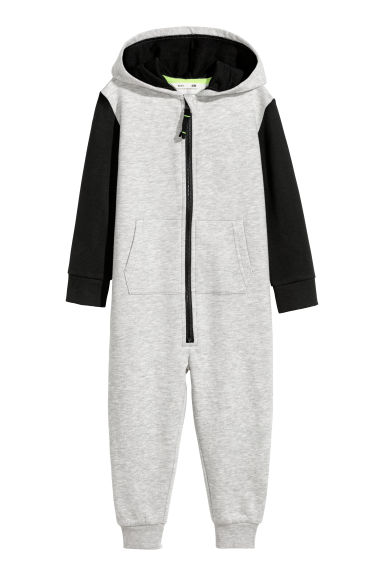 Jumpsuit with a hood - Grey marl - Kids | H&M CN