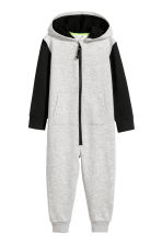 Jumpsuit with a hood - Grey marl - Kids | H&M CN 2