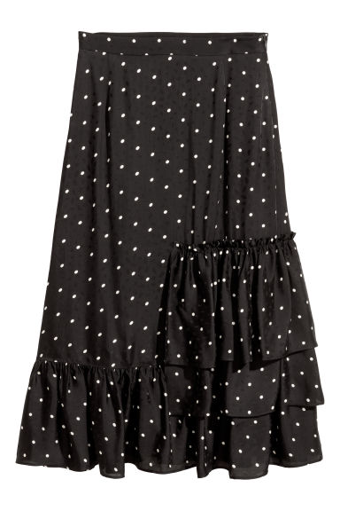 Jacquard-weave skirt - Black/Spotted - Ladies | H&M
