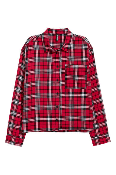 Short flannel shirt - Red/Black checked -  | H&M