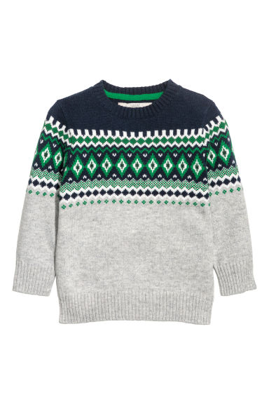 Jacquard-knit jumper - Light grey -  | H&M IE
