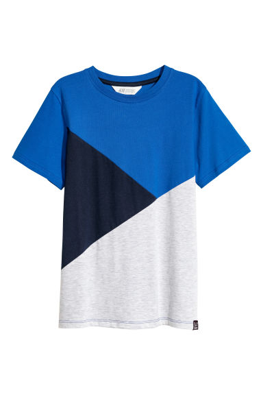 T-shirt color block - Bleu vif/gris clair -  | H&M FR