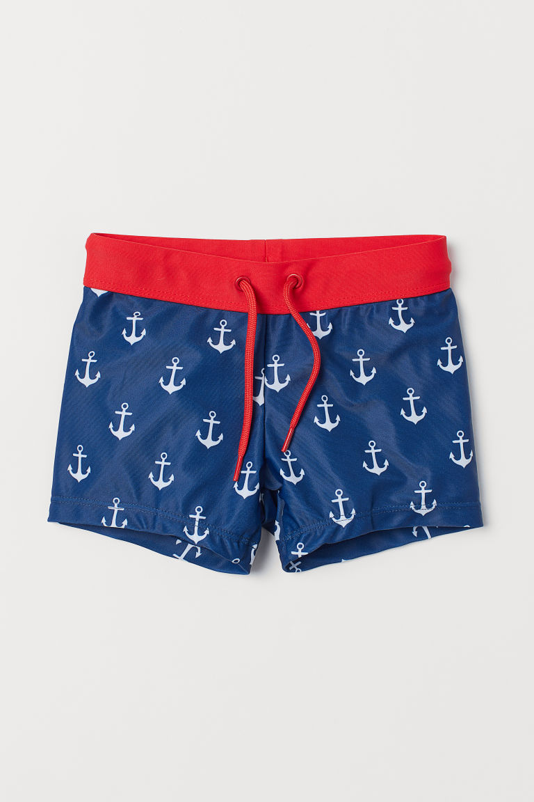 Patterned swimming trunks - Dark blue/Anchors - Kids | H&M GB