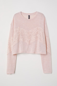 Fine-knit Sweater with Lace
