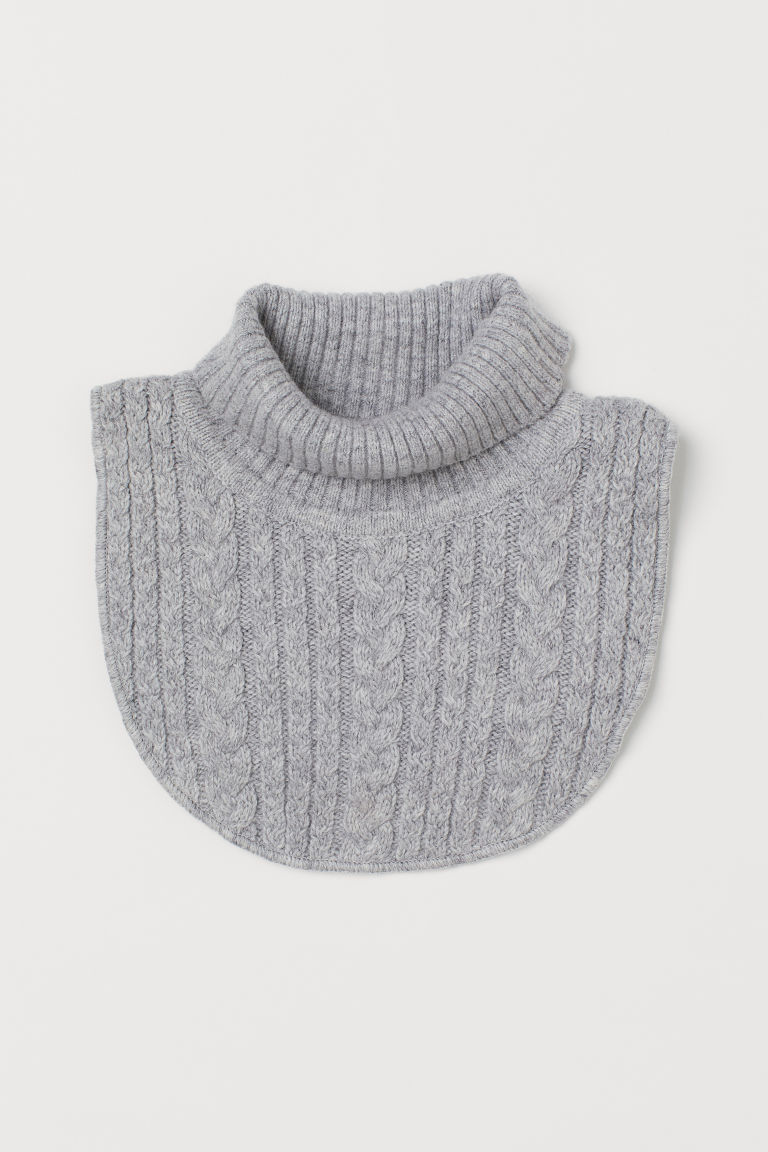 Cable-knit polo-neck collar - Grey marl - Kids | H&M GB