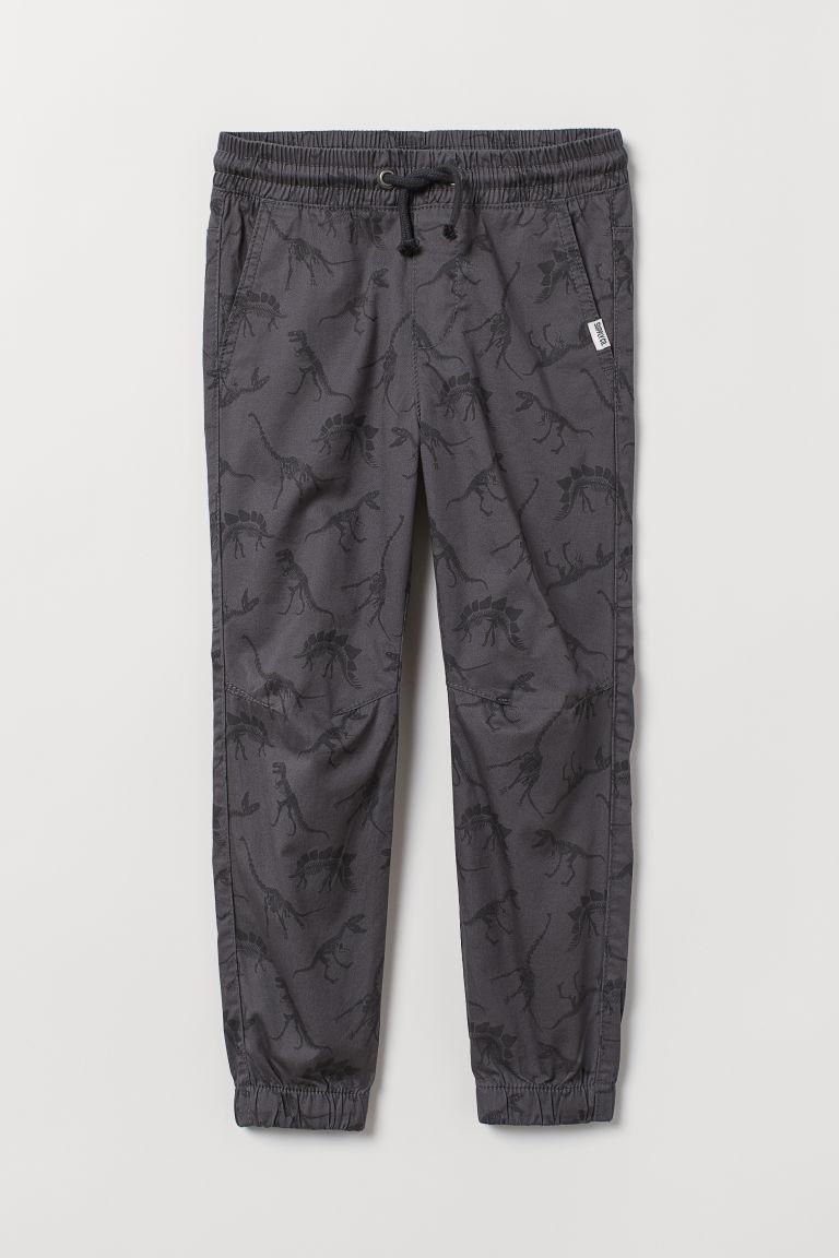 Cotton pull-on trousers - Dark grey/Dinosaurs - Kids   H&M GB