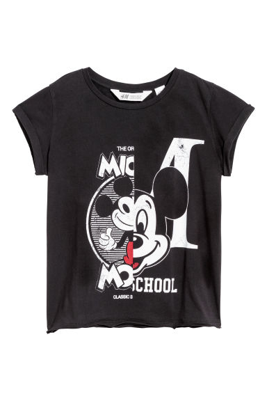 Printed jersey top - Black/Mickey Mouse - Kids | H&M CN 1