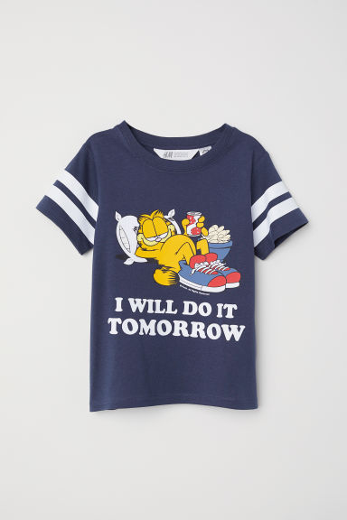 Printed T-shirt - Dark blue/Garfield - Kids | H&M CN