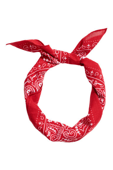 Patterned scarf - Bright red/Patterned - Men | H&M
